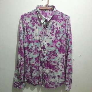 Floral Longsleeves Polo