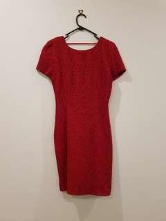 Vintage red lace midi dress