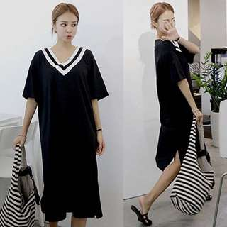 Loose fitting 2018 spring and summer wide T-shirt striped cotton dress female half-sleeved Korean version