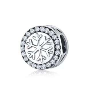 White Round Snowflake Charm