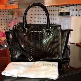 MK black patent croco authentic
