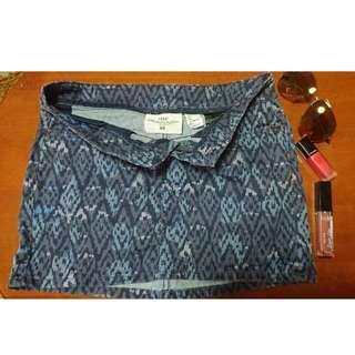 H&M BLUE PRINTED SKIRT (AZTEC)