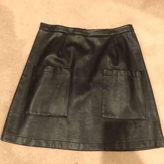 Mink pink leather skirt