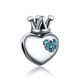 Blue Crystal Heart Crown Charm