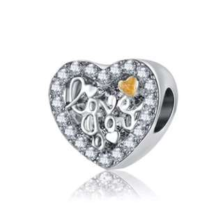 Love You Golden Heart Round Charm
