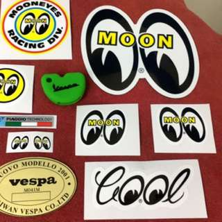 Vespa 偉士牌 mooneyes 果凍鑰匙套 貼紙套組