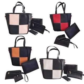 Color Block Korean 4 in 1 Bag