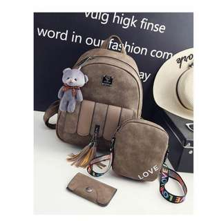 4 in 1 set with bear, sling, Card Holder and backpack
