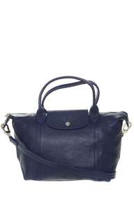 Longchamp Le Pliage Cuir Small Navy Bag