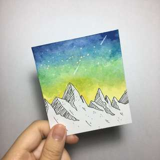 Galaxy Mountain Watercolour Cards