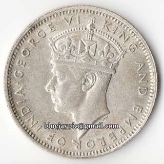 British Malaya 1943 20 cents King George VI Silver coin--00097