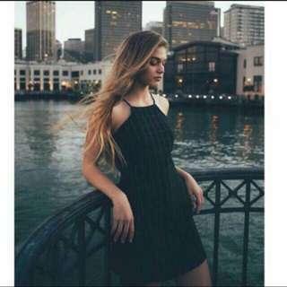 BN INSTOCK Black halter Grid Dress