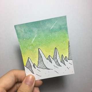 Space Galaxy Mountain Watercolour Cards