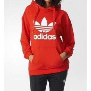 愛迪達連帽休閒運動套頭衫絨質刷毛紅色帽T夾克上衣M尺寸
