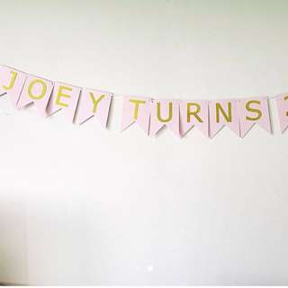 Light pink with gold letter handmade birthday banner / Bunting