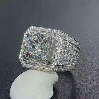 超閃  十心十箭高炭鑽925純銀6層包金戒指,可訂造任何指圈size