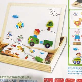 Educational wooden toys magnetic puzzle