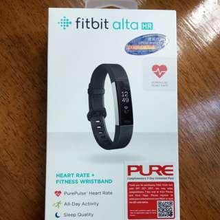 黑色Fitbit alta HR 運動追踪器