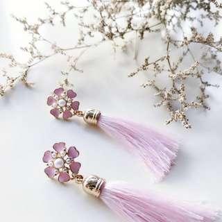 Jael Flowers Tassels Earrings in Blush