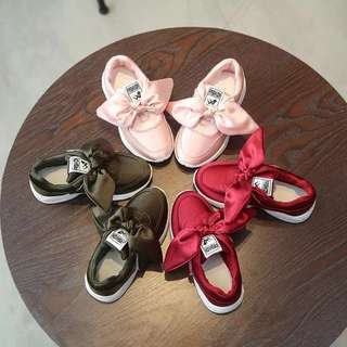 PO Girls Satin Ribbon Sneakers