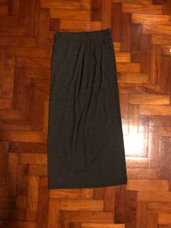 Grainy grey Long pencil skirt with slit