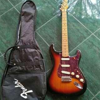 Jual Gitar listrik elektrik STAGG seri SES50M Sunburst bonus softcase fender, senar cadangan, tremolo, kunci L