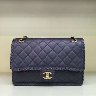 Chanel Interlaced Trim Calfskin Flap