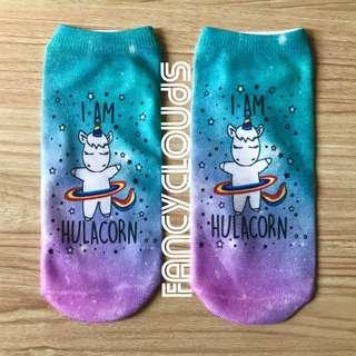 """I AM HULACORN"" Unicorn adorable colourful pretty attractive ankle socks gift present girls women woman"