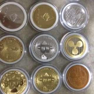 Bitcoins / Ethereum / Litecoin / Dash / Ripple / Monero - Gold / Silver Plated