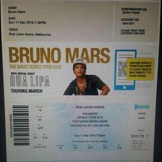 2 tiket konser Bruno Mars Melbourne 11 Maret 2p17
