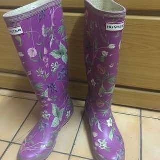 🚚 Hunter紫色小花雨靴