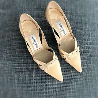 JIMMY CHOO Pointed Laser Cut Out Pumps in Cream Patent Leather