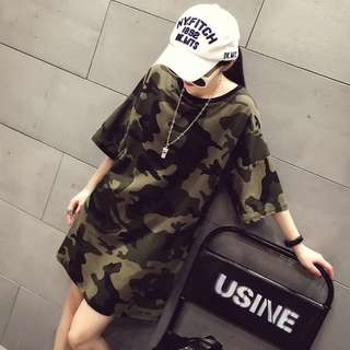 LD0022 Pre-order Big Size Army Print T-shirt Dress