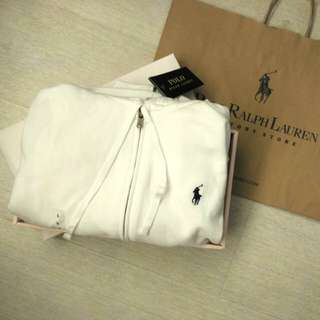 全新 Ralph Lauren White Athletic Zip Hoodie Jumper Womens 女裝針織防寒開胸 Polo 衛衣 原價$990 (連原裝紙袋) 只淨最後一件大碼170!!