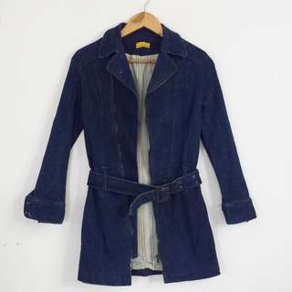 XS-S Dark Blue Stretchy Belted Zipped Front Denim Jacket