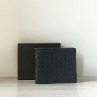 BOTTEGA VENETA BI-FOLD INTRECIATTO WALLET NAVY BLUE