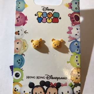 HK Disneyland Winnie the Pooh earrings TSUMTSUM 😍