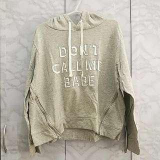 H&M (Semi) Crop Sweater Hoodie w Zipper Detailing