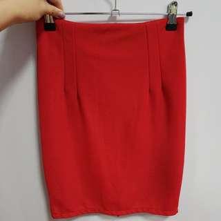 BN Red office skirt