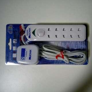 2m Power extension socket, 2pins 5x socket