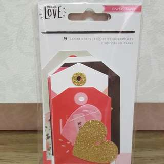 Crate Paper 'Hello, Love' Layered Tags