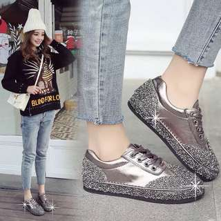 (35~40) Diamond sequins fashion shoes flat casual shoes thick sole shoes women's singles shoes