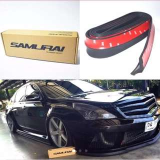 Universal Glossy Black Samurai rubber lip skirt bumper protector with 3M Double-sided Tape for Car, Van, MPV