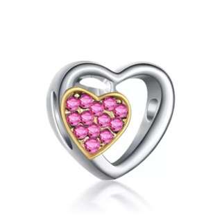 Pink Crystal Golden Heart Charm
