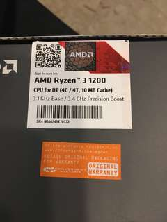 AMD Ryzen 3 1200 CPU Quad Core