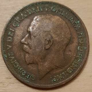 1915 Great Britain King George V Penny Coin