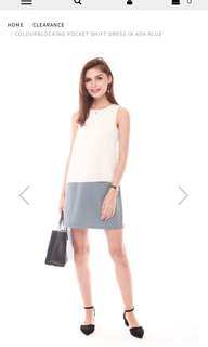 Anticlockwise Colorblocking Shift Dress in Ash Blue