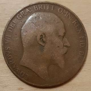 1907 Great Britain King Edward VII Penny Coin