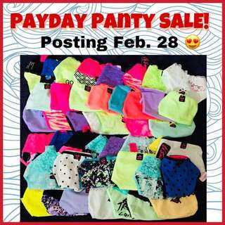 🎀👙 Payday Panty Sale! Watch out for it on Feb. 28 😍