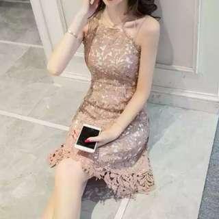 Khaki Halter Neck Lace Dress